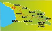 Gruzínsko - krajina na úpätí Kaukazu vrátane Svaneti