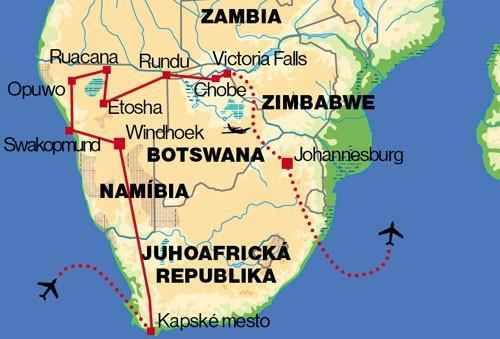 Juhoafrická republika, Namíbia, Botswana, Zimbabwe, Zambia