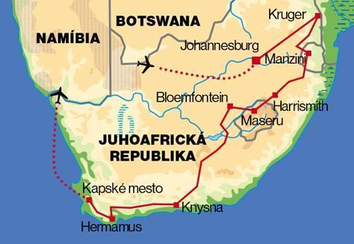 Južná Afrika Total: JAR, Zimbabwe, Botswana, Zambia, Lesotho, Svazijsko