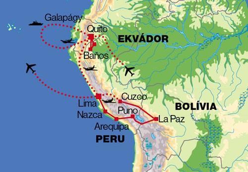 Ekvádor, Galapágy, Peru, Bolívia